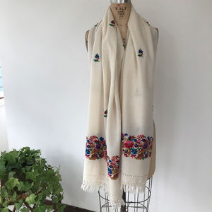 Vintage Hand Embroidered Wool Scarf